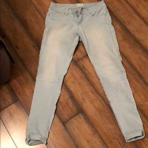 YMI Stretch Light Blue Distressed Anklet Jeans